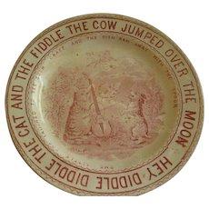 "English Staffordshire Transfer Nursery Rhyme ""Hey Diddle Diddle"" Plate"