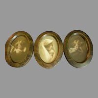 Triple Oval Framed Miniature M B Parkinson & Partridge Prints - Cupid Awake, Cupid Asleep & Madonna and Child