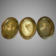 Triple Oval Framed Miniature M B Parkinson & Partridge Prints - Cupid Awake, Cupid Asleep & Madonna and Child