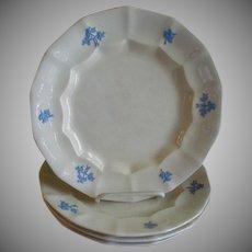 "Set of 4 ""Chelsea Grape"" Pattern Ironstone Dinner Plates"