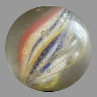 "German Hand-Made Ribbon Core Swirl 'Shooter"" Glass Marble"