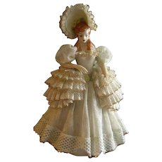 """Heirlooms of Tomorrow Ceramic Dresden-Type Lace Figurine - """"Marilyn"""" #841"""