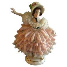 German Porcelain Dresden Lace Figurine of Victorian Lady w/Large Summer Bonnet