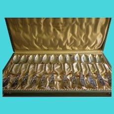 Jacob Tostrup - Norway 830 Silver - Set of 12 Arts & Crafts Demi-Tasse Spoons in Original Box