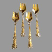 Gorham Sterling Silver 'Buttercup' Pattern Ice Cream Forks (Set of 4)