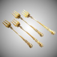 Gorham Sterling Silver 'Buttercup' Pattern Cocktail/Seafood Forks (Set of 4)