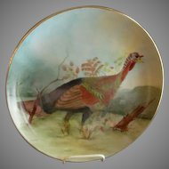 Porcelain Hand Painted Charger Plate w/Wild Turkey Motif