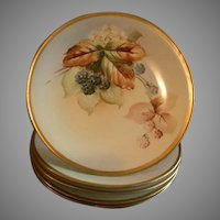 D & C France Hand Painted Cabinet Plate w/Wild Blackberry Motif
