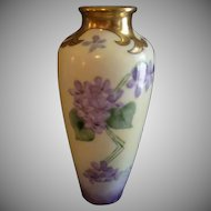 Jaeger & Company Porcelain Hand Painted Vase Decorated w/Wild Violets Motif