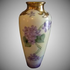Jaeger & Company Porcelain Hand Painted Vase Decorated w/Wild Violets Motif