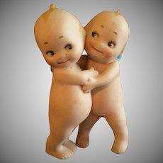 """Rose O'Neill Bisque """"Kewpie Huggers"""" Figure - 3 1/2"""" Tall"""