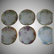Set of 6 Favorite Bavaria Hand Painted Salad/Dessert Plates w/Floral Motifs - Each Different - Artist Signed & Dated