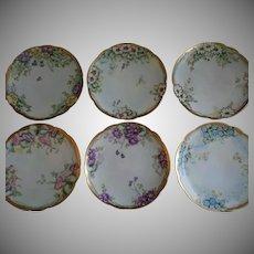 Set of 6 Favorite Bavaria Hand Painted Salad/Dessert Plates w/Floral Motifs - Each Different - Artist Signed & Dated