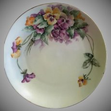 Rosenthal & Co. Hand Paint Cabinet Plate: Multi-Colored Pansy Blossoms Motif - Artist Signed