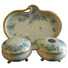 """Bavaria Hand Painted """"Forget-Me-Not"""" Pattern 5-Piece Dresser/Vanity Set - Artist Signed & Dated"""