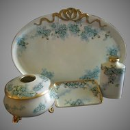 "Porcelain Hand Painted ""Forget-Me-Not"" Pattern 5-Piece Dresser/Vanity Set - Artist Signed & Dated"