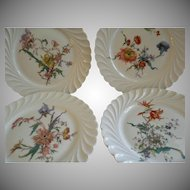 Set of 4 Theodore Haviland Salad/Dessert Plates - Torse Swirl Blank - Botanical Wildflowers Motif