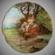 Charles Martin Limoges Transfer & Hand Painted Neoclassical Scenic Cabinet Plate