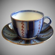 "Charles Allerton & Sons Flow Blue ""Wagon Wheel"" Pattern Cup & Saucer Set"