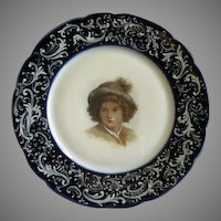 Jean Pouyat (JPL) Limoges Hand Painted Portrait Plate of a Young Lad
