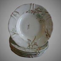 Set of 6 Theodore Haviland Wide Rim Soup Bowls - St Cloud Series w/Floral Motif - Schleiger #116 Blank
