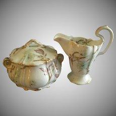Theodore Haviland Sugar Bowl & Cream Pitcher - St Cloud Series w/Floral Motif - Schleiger #116 Blank