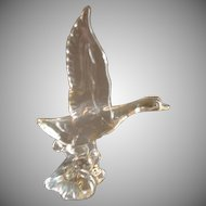 "Heisey Crystal ""Mallard Duck - Wings Up"" Figurine - Unmarked"