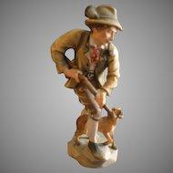 "Hans & Adolf Heinzeller Wood Carving of ""Bavarian Gentleman Hunter With His Dog"""