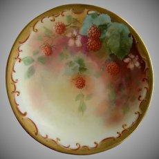 Pickard Studio Hand Painted Cabinet Plate w/Red Raspberries & Vines Motif