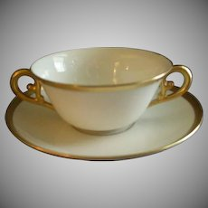 T & V Limoges Gold Decorated Bouillon Cups & Saucers - Set of 6