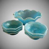 Model Flint Glass Company - Blue Opalescent 'Ribbed Spiral' Pattern 7-Piece Fruit/Dessert Bowl Set