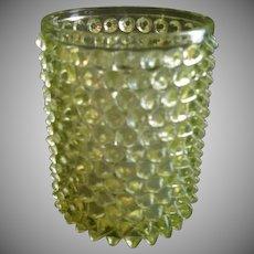 Vaseline (Uranium) Glass 'Hobnail' Pattern Pickle Caster Insert Jar
