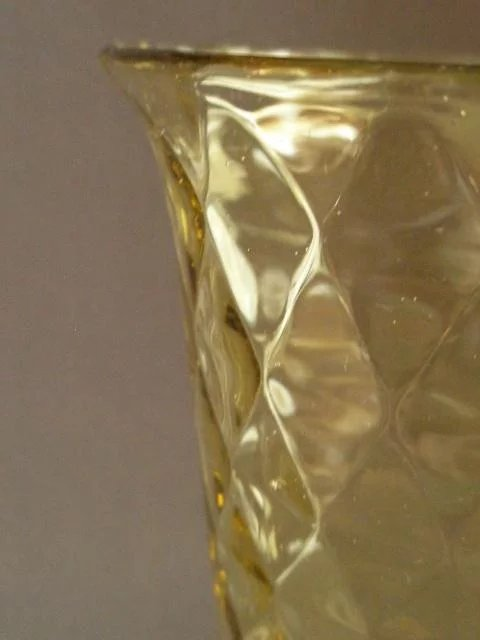 Eapg Diamond Quilted Amber Celery Vase Brys Antiques Ruby Lane