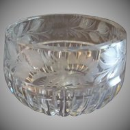 Vintage Cut Glass Crystal Candy Bowl w/Engraved Floral Border