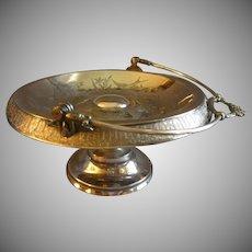 Meriden Quadruple Silver Plate Victorian Bride's Basket w/Engraved Floral & Bird Motif