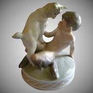 "Royal Copenhagen Figurine ""Faun With A Goat"" #498, Sculptured by Christian Thomsen"