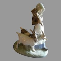 """Royal Copenhagen Large Figurine """"Girl With Goats"""" #694, Sculptured by Christian Thomsen"""
