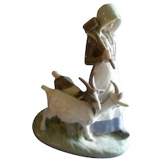 "Royal Copenhagen Large Figurine ""Girl With Goats"" #694, Sculptured by Christian Thomsen"