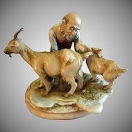 "Antonio Borsato ""Old Man With Nanny & Kid Goat"" Figurine"
