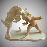 "Wallendorf Schaubach Kunst - Goebel - Porcelain ""Nude Child With Young Goat"" Figurine"