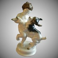 "Rosenthal Porcelain ""Nude Child Playing With A Young Goat"" By Max Herman Fritz"
