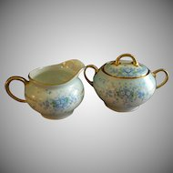 "Luken Studio Hand Painted ""Forget-Me-Not"" Pattern Sugar & Creamer Set"
