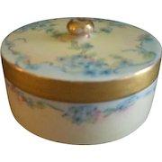 "Bavaria Porcelain Hand Painted ""Forget-Me-Not"" Pattern Powder/Trinket Box"