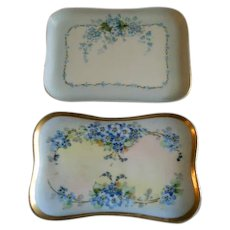 French Porcelain Hand Painted FMN Pattern Pin/Trinket Trays - Pair