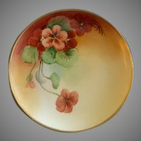 White's Art Company Hand Painted Cabinet Plate w/Nasturtiums Motif