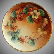 Haviland & Co., Limoges Hand Painted Cabinet Plate w/Nasturtium Blossoms Motif