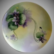 Haviland & Co., Limoges Hand Painted Cabinet Plate w/Purple Wild Violet Blossoms Motif