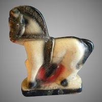 Vintage Chalk/Plaster-ware Circus/Carnival Prize Figures - Pair of Horses