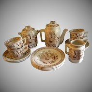 """Thomas Wood & Sons """"Little May with Apron"""" 17-Pc. Brown Transfer-Ware Child's Tea Set"""
