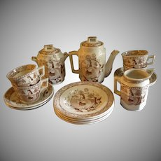 "Thomas Wood & Sons ""Little May with Apron"" 17-Pc. Brown Transfer-Ware Child's Tea Set"